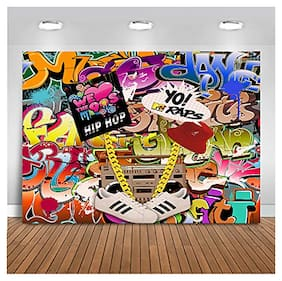 90s Themed Backdrop Graffiti Hip Pop Party Background 7x5ft Party Decoration NEW