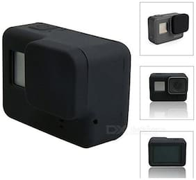 Action Pro BLACK Silicone Rubber Case + Lens Protective Cap Cover for Gopro Hero
