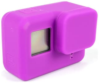 Action Pro PURPLE Silicone Rubber Case + Lens Protective Cap Cover for Gopro Hero