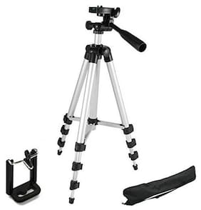 IMMUTABLE Adjustable Portable Aluminium Lightweight Camera Stand Tripod-3110 with 3-D Mobile Clip Holder for All Mobiles & Smartphones Tripod