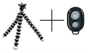 Aeoss Gorilla Tripod/Mini Tripod 10 inch for Mobile Phone with Wireless Bluetooth Shutter Remote Control Button Self-Timer (Shutter with Gorilla Tripod)