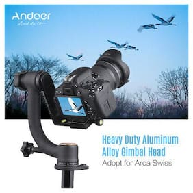 Andoer Aluminum Alloy Heavy Duty Gimbal Head Pan Tilt Tripod Head for Arca Swiss