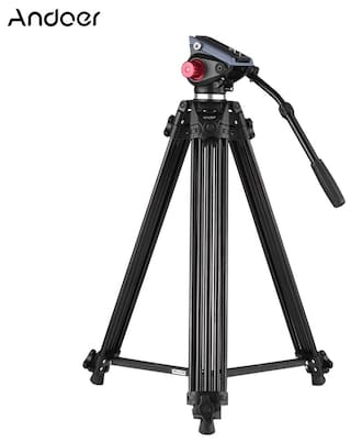Andoer Professional Aluminum alloy Panorama Tripod Fluid Hydraulic Head Ballhead for Canon Nikon Sony DSLR Camera & Video Recorder DV Max Height 182.88 cm (72 Inch) Max Load 8KG with Carrying Bag