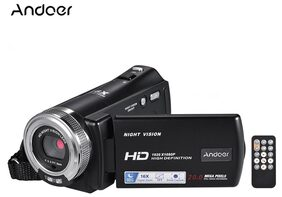 Andoer V12 1080P Full HD 16X Digital Zoom Recording Video Camera Portable Camcorder with 7.62 cm (3.0 Inch) Rotatable LCD Screen Max. 20 Mega Pixels Support Night Vision Face Detection Face Beautify