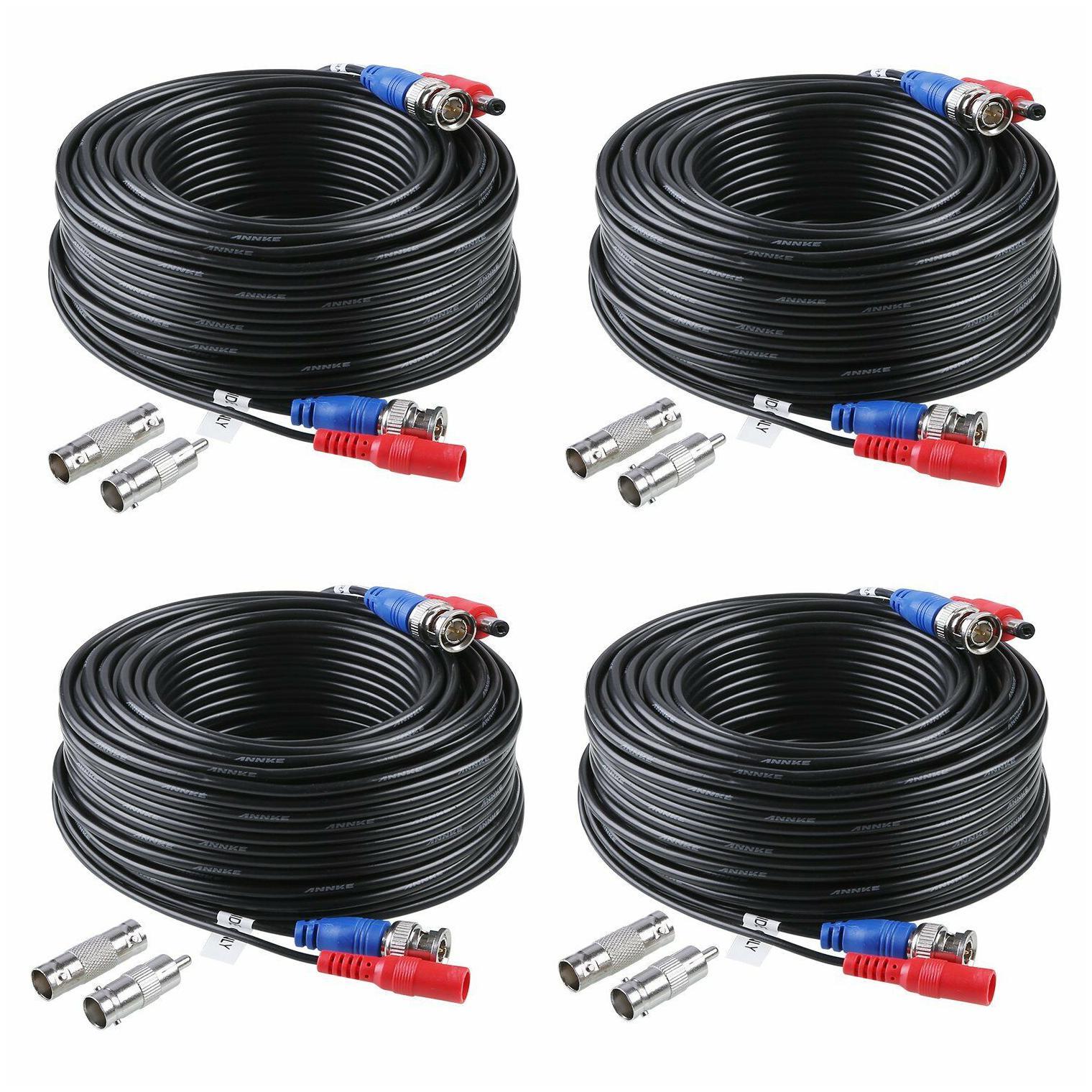 NEW 4X100ft Camara Cable BNC,Video Wire Cord de seguridad para CCTV DVR Black