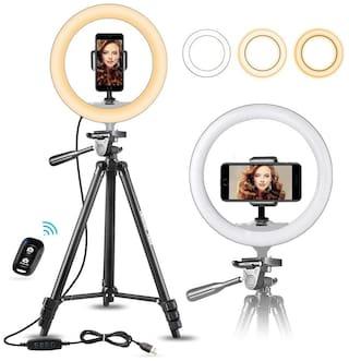 ARHUB 10  inch Big Professional Selfie Ring Light with Extendable Tripod Stand & Flexible Phone Holder for Live Stream/Makeup, Desktop Led Camera Ringlight for YouTube TIKTok Video