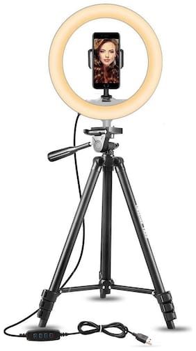 ARHUB 10 inch Selfie Ring Light with Extendable Tripod Stand & Flexible Phone Holder for Live Stream/Makeup, Desktop Led Camera Ringlight for YouTube TIK-Tok Video
