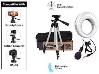 Backlund Combo 3 in 1 Tripod 3110 Stand with 3-Way Head Tripod Cellphone Holder with 3.5mm Clip on Mini Collar Mic Microphone with Selfie Portable Flash Led Camera Phone Photography Ring Light