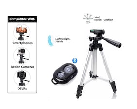 ACCESORIES LEGACY  3110 Portable & Foldable Camera Mobile Tripod With Bluetooth Wireless Remote Shutter Photo Clicker Controler