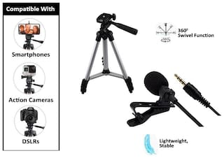Backlund Tripod 3110 Portable Foldable Camera - Tripod & Mobile Clip Holder with Lapel Collar Mic Microphone Mike 1Ft Cable Noise Cancelling Recording Support for All Smartphone (Assorted Colour)