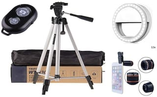 ACCESORIES LEGACY  330A Long Lightweight Tripod Stand for Mobile Phone Bluetooth Shutter Remote Controller  Soft White Color Selfie Ring Light with 3 Modes & 36 LED and 12X Optical Zoom Lens