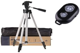 ACCESORIES LEGACY  330A Long Lightweight Tripod Stand Professional Lightweight Aluminum Portable Tripod Stand 3 Way Head With Bluetooth Wireless Remote Shutter Photo Clicker Controler