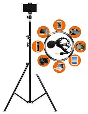 Backlund 7 Feet Big Tripod Stand for Mobile and Camera Adjustable Aluminium Alloy Big Tripod Stand Holder,Photo/Video Shoot & 3.5mm Clip on Mini Collar Mic Microphone