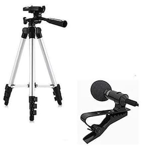 Backlund  Adjustable Aluminium Alloy Tripod Stand Holder for Mobile Phones, 360 mm -1050 mm, 1/4 inch Screw with 3.5mm Clip On Mini Microphone (Black)