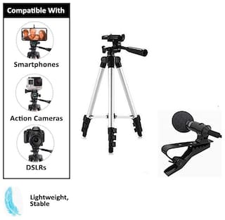 ACCESORIES LEGACY   Adjustable Aluminium Alloy Tripod Stand Holder for Mobile Phones  360 mm -1050 mm  1/4 inch Screw with 3.5mm Clip On Mini Microphone (Black)
