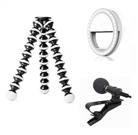 ACCESORIES LEGACY  Camera Flexible Tripod with Mic & Light Compatible for DSLR & Mirrorless Camera
