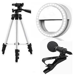 Backlund Combo 3 in 1 3110 Tripod Stand with 3-Way Head Tripod Cellphone Holder with 3.5mm Clip on Mini Collar Mic Microphone with Selfie Portable Flash Led Ring Light