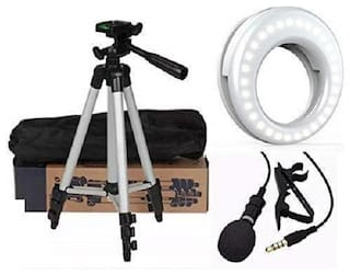 Backlund Combo 3 in 1 3110 Tripod Stand with 3-Way Head Tripod Cellphone Holder with 3.5mm Clip on Mini Collar Mic Microphone with Selfie Ring Light for Mobile Cellphone Camera with 36 LED Lights
