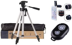 ACCESORIES LEGACY  Combo 3 in 1 330A Long Lightweight Tripod Stand for Mobile Phones 360 mm 1050 mm 1/4 inch Screw Mobile Holder Bluetooth Shutter Remote Controller and 12X Optical Zoom Lens