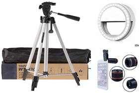Backlund Tripod 330A Long Lightweight  Tripod Stan with Soft White Color Selfie Ring Light with 3 Modes & 36 LED with 12X Optical Zoom Telescope Phone Camera Lens & Collar Mic