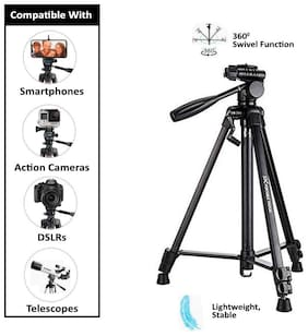 Backlund Tripod 3388 / 5208 Professional Lightweight Aluminum Portable Tripod Stand 3 Way Head For DSLR, GoPro, Action Camera, and Smartphone with Mobile holder Tripod Kit,Bluetooth remote