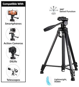 ACCESORIES LEGACY  Tripod 3388 / 5208 Professional Lightweight Aluminum Portable Tripod Stand 3 Way Head For DSLR  GoPro  Action Camera  and Smartphone with Mobile holder Tripod Kit Bluetooth remote