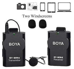 BOYA BY-WM4 Universal Lavalier Wireless Microphone Mic with Real-time Monitor for IOS iPhone 8 8 plus 7 7 plus 6 6s Smartphone iPad Tablet DSLR Camera Sony RX0