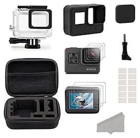 Brain Freezer Accessories Compatible With GoPro Hero 5 Black Starter Kit Travel Case Small, Housing Case, Screen Protector, Lens Cover, Silicone Protective Case Compatible With GoPro Hero5 Outdoor Kit