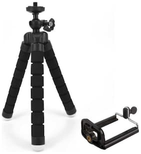 BTK Trade Flexible Non Extentable Tripod Stand for Mobile, GoPro (Usage for vlogging) (Black)