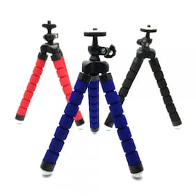 BTK Trade Flexible Non Extentable 6 inch Tripod Stand for Mobile, GoPro (Assorted)
