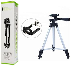 BTK Trade TF-3366  Extentable 4.5 Feet Tripod Stand for Mobile, GoPro & DSLR Camera (Silver)