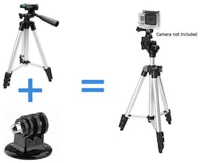 BUDDIES CART Tripod Aluminum With 3-Way Universal Digital Camera Tripod for Canon Nikon Sony Pentax DSLR/Mobile Phones