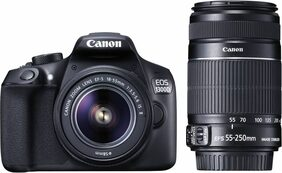 Canon EOS 1300D Kit (EF S18-55 IS II + 55-250 mm) 18 MP DSLR Camera (Black)