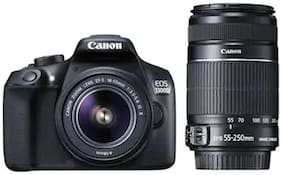 Canon EOS 1300D Kit (EF S18-55 IS II + 55-250 mm) 18 MP DSLR Camera (Black)