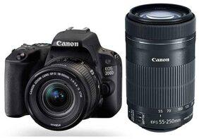Canon EOS 200D Kit (EF-S18-55 IS STM & EF-S55-250 IS STM) 24.2 MP DSLR Camera (Black)