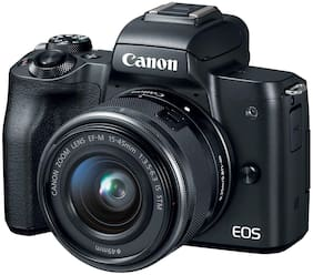 Canon EOS M50 Kit (EF-M15-45 IS STM) 24.1MP Mirrorless Camera (Black) + 16GB Card + Carry Case