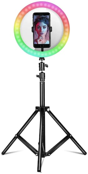 CASVO 10 inch RGB Ring Light 360 Full Color 13 Dynamic RGB + 13 Static RGB + 3 Daily Colors Lights Selfie Ring Light with Adjustable Tripod Stand & Cell Phone Holder for YouTube, Vlog Shooting, Makeup