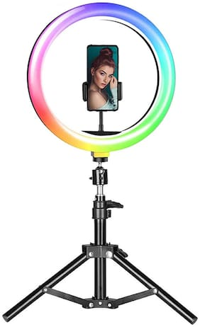 CASVO 13 RGB LED Ring Light with Adjustable Tripod Stand and Phone Holder, 16-Colors Dimmable Selfie Ring Light for Live Streaming/TaKa Tak/Makeup/YouTube Video/Photography Shoot Ring Flash
