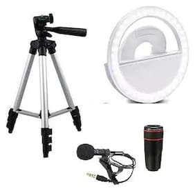 CHG 3110 Portable Camera Stand with Soft White Color Selfie Ring Light with 3 Modes & 36 LED for Mobile Phone Photos with 12X Optical Zoom Telescope Phone Camera Lens & Collar Mic
