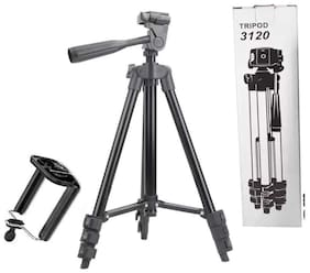 CHG  3120 Portable and Foldable Camera Metal Body Mobile Tripod with Clip Holder Bracket, Stand with 3-Dimensional Head and Quick Release Plate Only