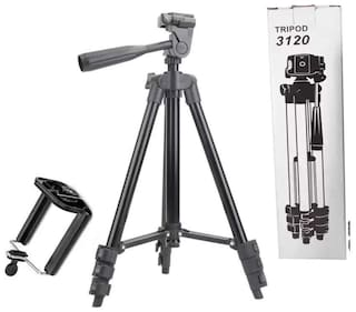 TSV  3120 Portable and Foldable Camera Metal Body Mobile Tripod with Clip Holder Bracket  Stand with 3-Dimensional Head and Quick Release Plate Only