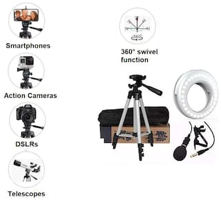 Combo 3 in 1 Tripod 3110 Stand with 3-Way Head Tripod Cellphone Holder with 3.5mm Clip on Mini Collar Mic Microphone with Selfie Portable Flash Led  Ring Light For Camera Phone Making TIKTOK Video