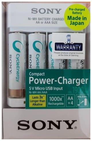Sony Min. 1900 mah 4 pcs AA NI-MH Rechargable Battery With USB CHARGER BCG34HHU4K