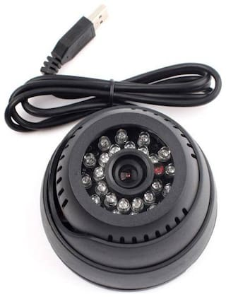 Cos theta USB Port CCTV Dome 24 IR Night Vision Camera DVR with Memory Card Slot Recording (USB)