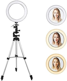 Crystal Digital LED Selfie Ring Light with 3110 Tripod Stand Tabletop Stand & Phone Holder for Making up & Tiktok YouTube Videos Photography