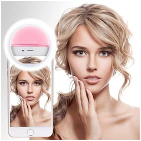 Crystal Digital Soft Pink Color Selfie Ring Light with 3 Modes and 36 LED for MobilePhone/Laptop/Camera Photography/Video Photo Shoot Flash