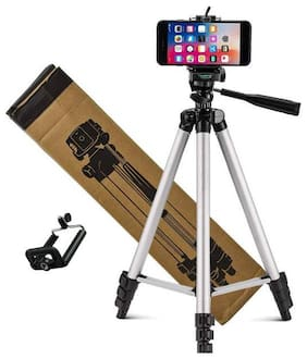 Crystal Digital 3110 3Dimensional Head Foldable Camera Tripod Stand with Mobile Clip Holder Bracket for Tiktok Video