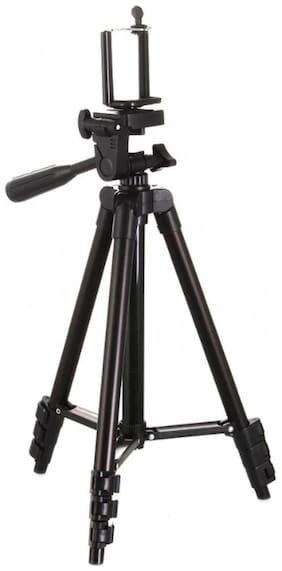 Crystal Digital  3120 Foldable Camera Tripod with Mobile Clip Holder Bracket (Black)