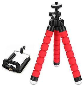 Cubern Flexible Octopus Foldable Gorilla Tripod for Camera, DSLR and Smartphones with Universal Mobile Attachment (RED)