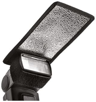 De-Autocare Mini Silver White Light-Shapers Flash Photography Diffuser Reflector For Camera Flash Bounce Card Shoe Mount Flash (Pack Of 1)